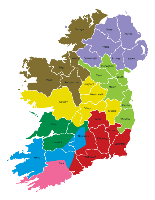 Map of Ireland illustrating the area covered by different individuals